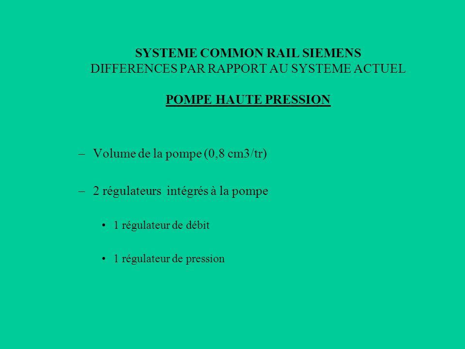 SYSTEME COMMON RAIL SIEMENS DIFFERENCES PAR RAPPORT AU SYSTEME ACTUEL POMPE HAUTE PRESSION –Volume de la pompe (0,8 cm3/tr) –2 régulateurs intégrés à
