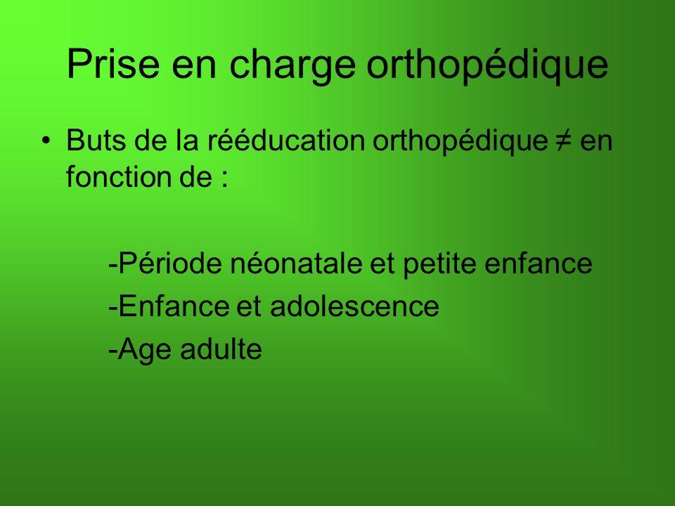 Prise en charge orthopédique Buts de la rééducation orthopédique en fonction de : -Période néonatale et petite enfance -Enfance et adolescence -Age ad