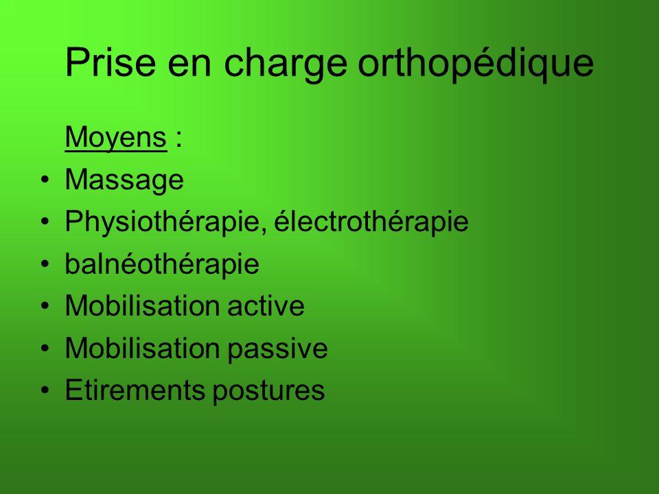 Prise en charge orthopédique Moyens : Massage Physiothérapie, électrothérapie balnéothérapie Mobilisation active Mobilisation passive Etirements postu