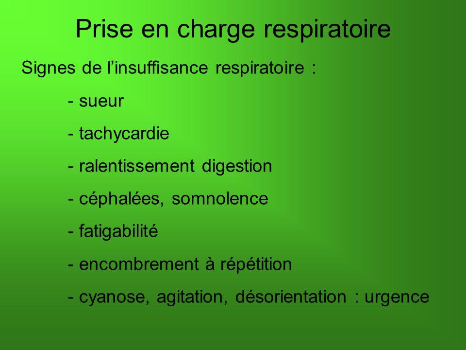Prise en charge respiratoire Signes de linsuffisance respiratoire : - sueur - tachycardie - ralentissement digestion - céphalées, somnolence - fatigabilité - encombrement à répétition - cyanose, agitation, désorientation : urgence