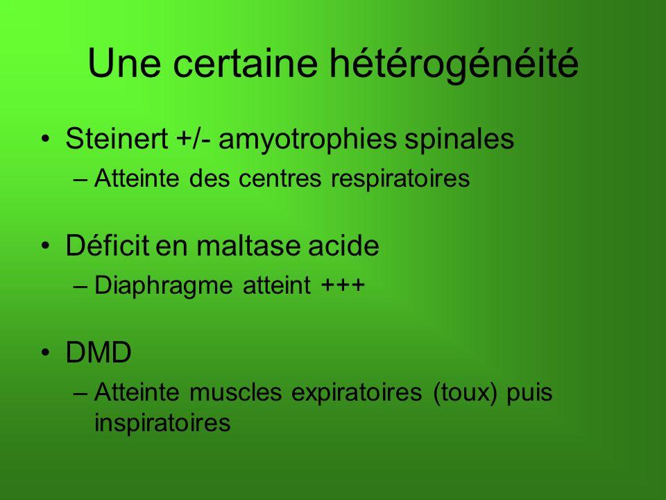 Une certaine hétérogénéité Steinert +/- amyotrophies spinales –Atteinte des centres respiratoires Déficit en maltase acide –Diaphragme atteint +++ DMD –Atteinte muscles expiratoires (toux) puis inspiratoires