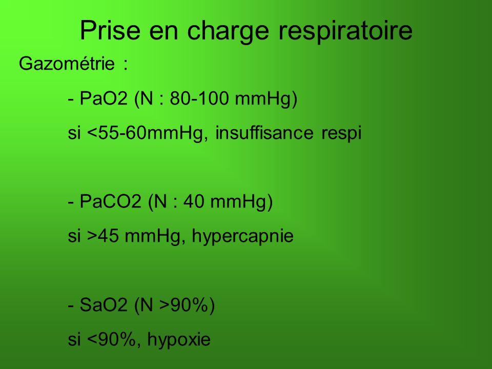 Prise en charge respiratoire Gazométrie : - PaO2 (N : 80-100 mmHg) si <55-60mmHg, insuffisance respi - PaCO2 (N : 40 mmHg) si >45 mmHg, hypercapnie -