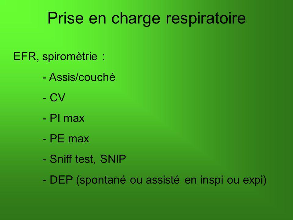 Prise en charge respiratoire EFR, spiromètrie : - Assis/couché - CV - PI max - PE max - Sniff test, SNIP - DEP (spontané ou assisté en inspi ou expi)