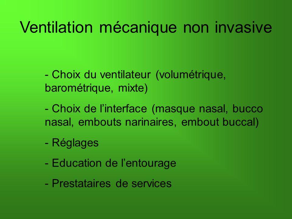 Ventilation mécanique non invasive - Choix du ventilateur (volumétrique, barométrique, mixte) - Choix de linterface (masque nasal, bucco nasal, embouts narinaires, embout buccal) - Réglages - Education de lentourage - Prestataires de services