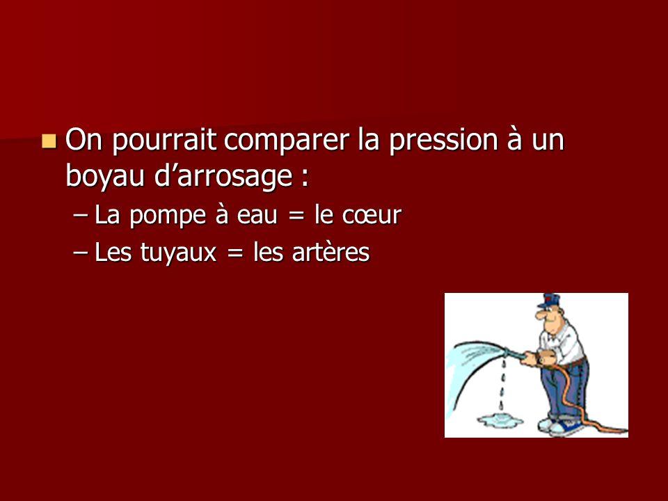 On pourrait comparer la pression à un boyau darrosage : On pourrait comparer la pression à un boyau darrosage : –La pompe à eau = le cœur –Les tuyaux = les artères
