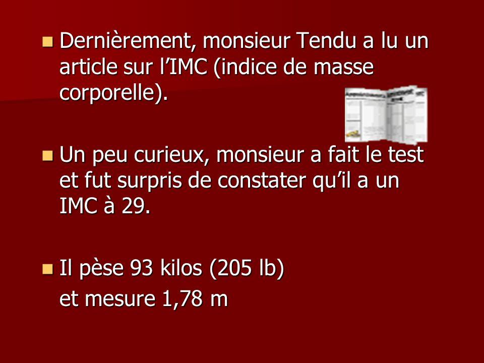 Dernièrement, monsieur Tendu a lu un article sur lIMC (indice de masse corporelle).