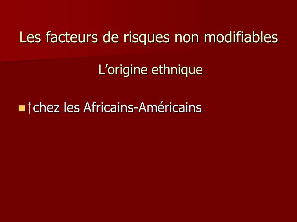 Les facteurs de risques non modifiables Lorigine ethnique Lorigine ethnique chez les Africains-Américains chez les Africains-Américains
