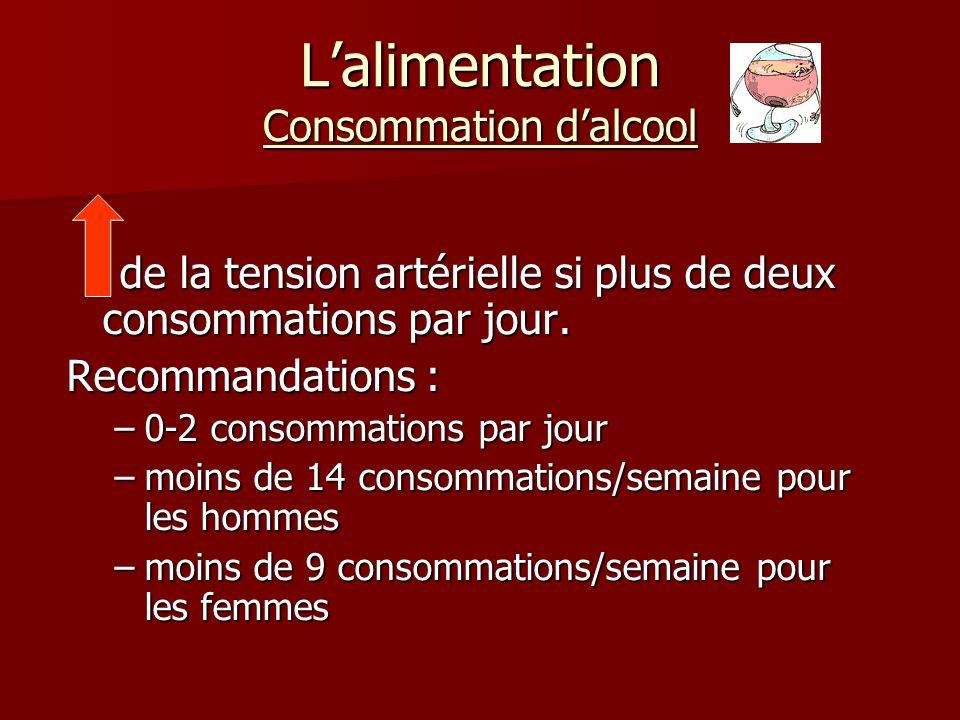 Lalimentation Consommation dalcool de la tension artérielle si plus de deux consommations par jour.