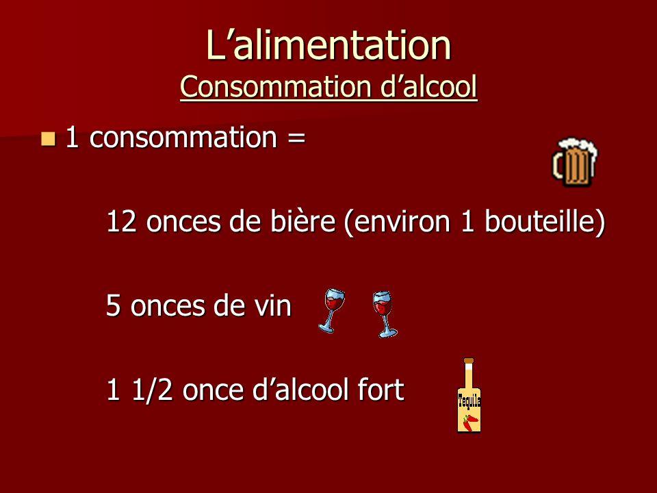 Lalimentation Consommation dalcool 1 consommation = 1 consommation = 12 onces de bière (environ 1 bouteille) 5 onces de vin 1 1/2 once dalcool fort