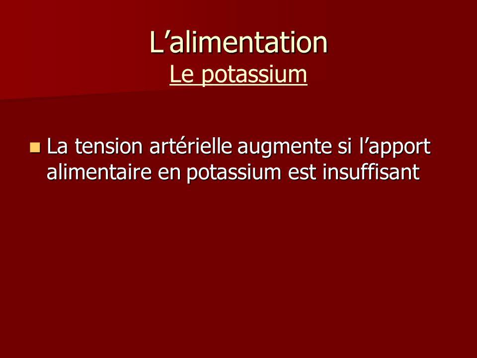 Lalimentation Lalimentation Le potassium La tension artérielle augmente si lapport alimentaire en potassium est insuffisant La tension artérielle augmente si lapport alimentaire en potassium est insuffisant