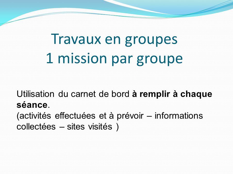 Travaux en groupes 1 mission par groupe Utilisation du carnet de bord à remplir à chaque séance. (activités effectuées et à prévoir – informations col