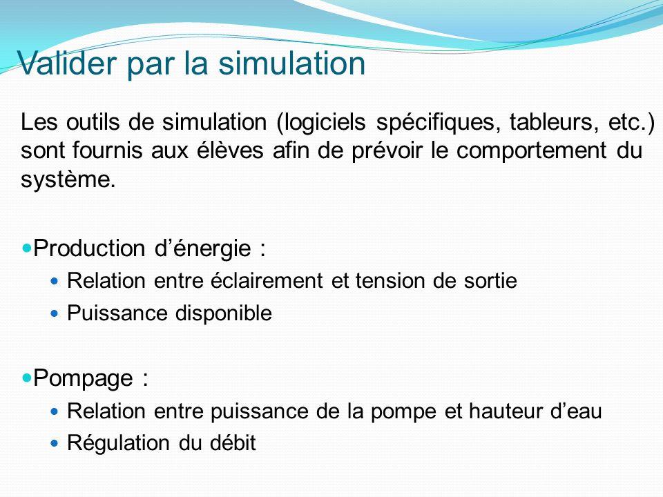 Valider par la simulation Les outils de simulation (logiciels spécifiques, tableurs, etc.) sont fournis aux élèves afin de prévoir le comportement du