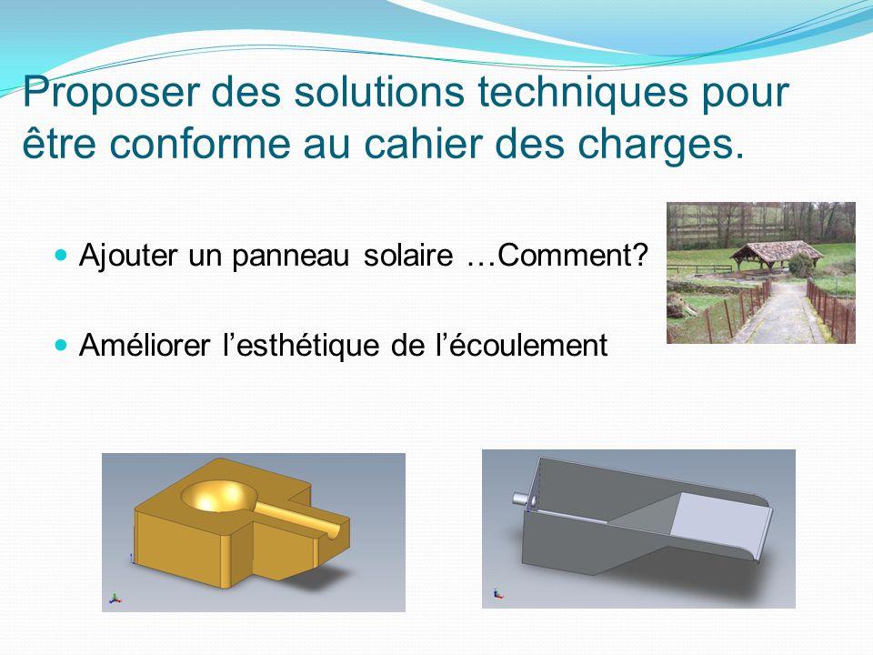 Proposer des solutions techniques pour être conforme au cahier des charges. Ajouter un panneau solaire …Comment? Améliorer lesthétique de lécoulement