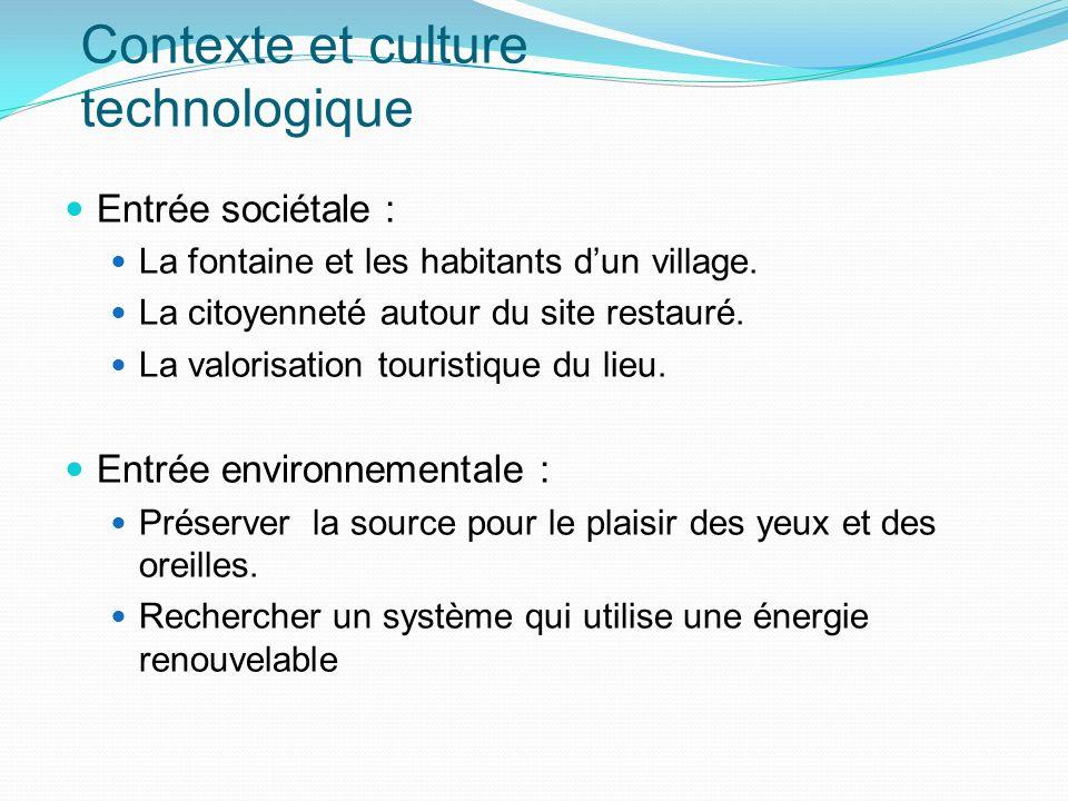 Contexte et culture technologique Entrée sociétale : La fontaine et les habitants dun village. La citoyenneté autour du site restauré. La valorisation