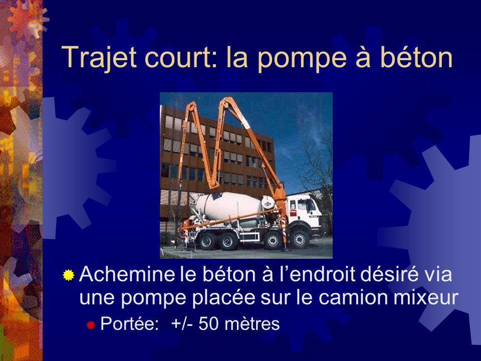 Trajet court: la pompe à béton Achemine le béton à lendroit désiré via une pompe placée sur le camion mixeur Portée: +/- 50 mètres