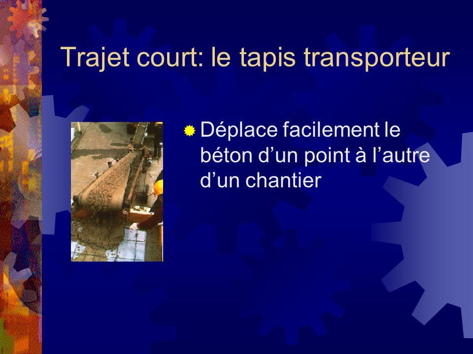 Trajet court: le tapis transporteur Déplace facilement le béton dun point à lautre dun chantier