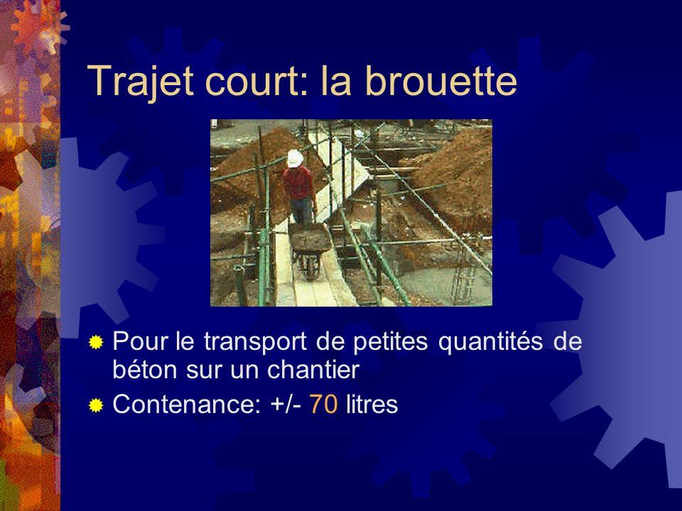 Trajet court: la brouette Pour le transport de petites quantités de béton sur un chantier Contenance: +/- 70 litres