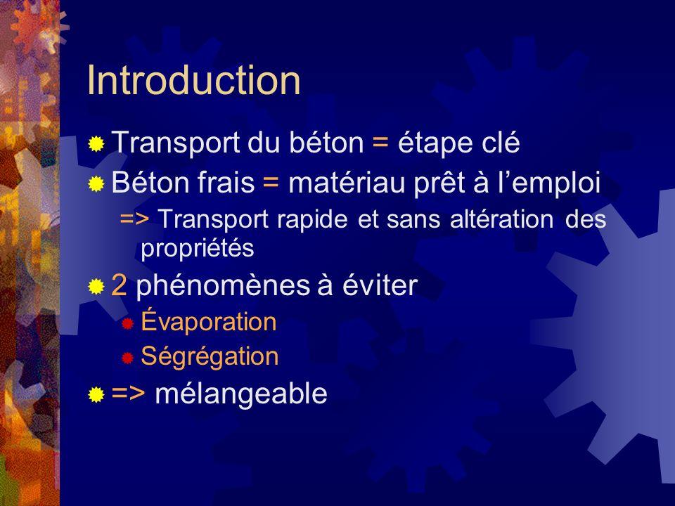Introduction Transport du béton = étape clé Béton frais = matériau prêt à lemploi => Transport rapide et sans altération des propriétés 2 phénomènes à