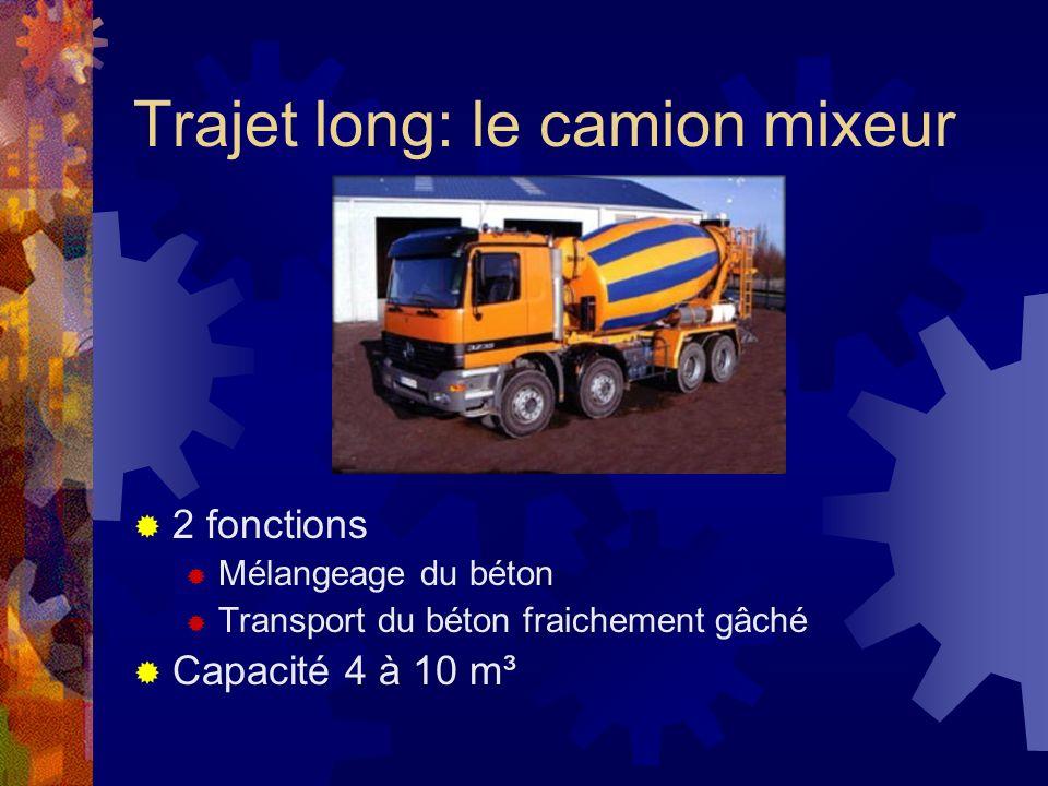 Trajet long: le camion mixeur 2 fonctions Mélangeage du béton Transport du béton fraichement gâché Capacité 4 à 10 m³