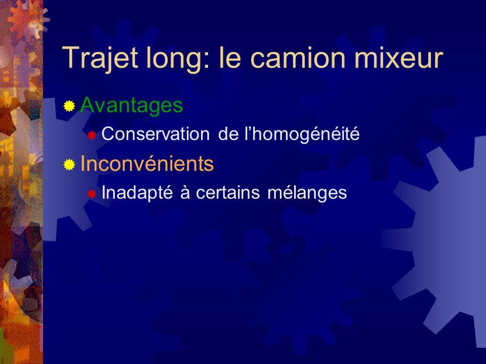 Trajet long: le camion mixeur Avantages Conservation de lhomogénéité Inconvénients Inadapté à certains mélanges