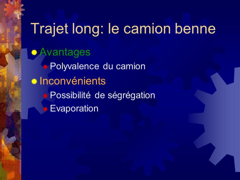 Avantages Polyvalence du camion Inconvénients Possibilité de ségrégation Evaporation