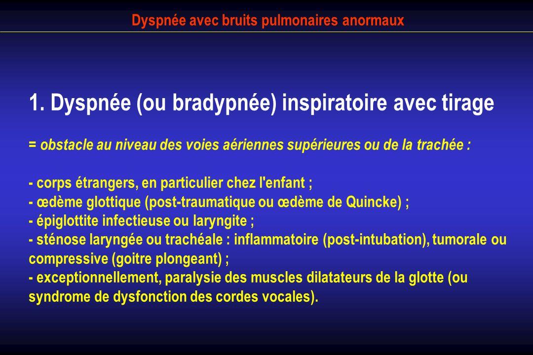 Dyspnée avec bruits pulmonaires anormaux 1. Dyspnée (ou bradypnée) inspiratoire avec tirage = obstacle au niveau des voies aériennes supérieures ou de