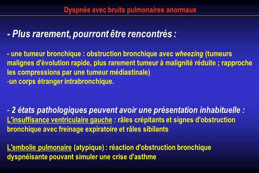 Dyspnée avec bruits pulmonaires anormaux - Plus rarement, pourront être rencontrés : - une tumeur bronchique : obstruction bronchique avec wheezing (t