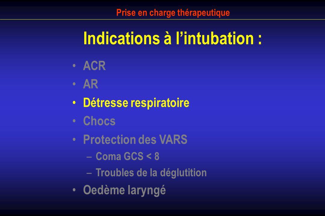 Prise en charge thérapeutique Indications à lintubation : ACR AR Détresse respiratoire Chocs Protection des VARS – Coma GCS < 8 – Troubles de la déglu