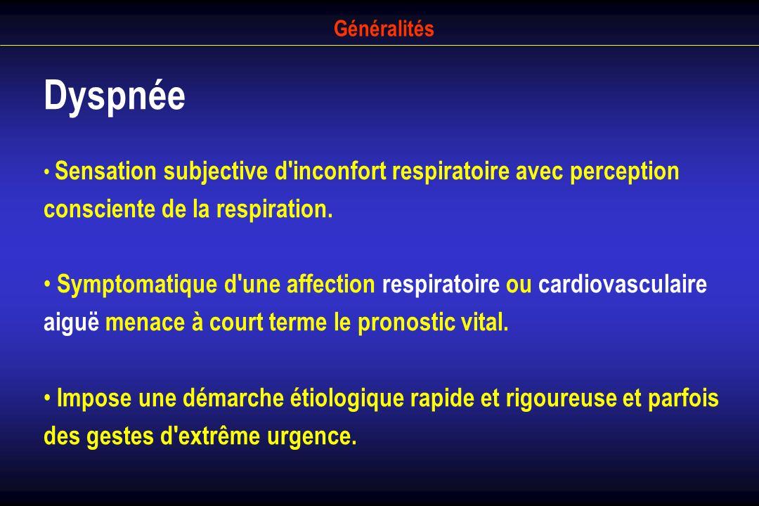 Généralités Dyspnée Sensation subjective d'inconfort respiratoire avec perception consciente de la respiration. Symptomatique d'une affection respirat