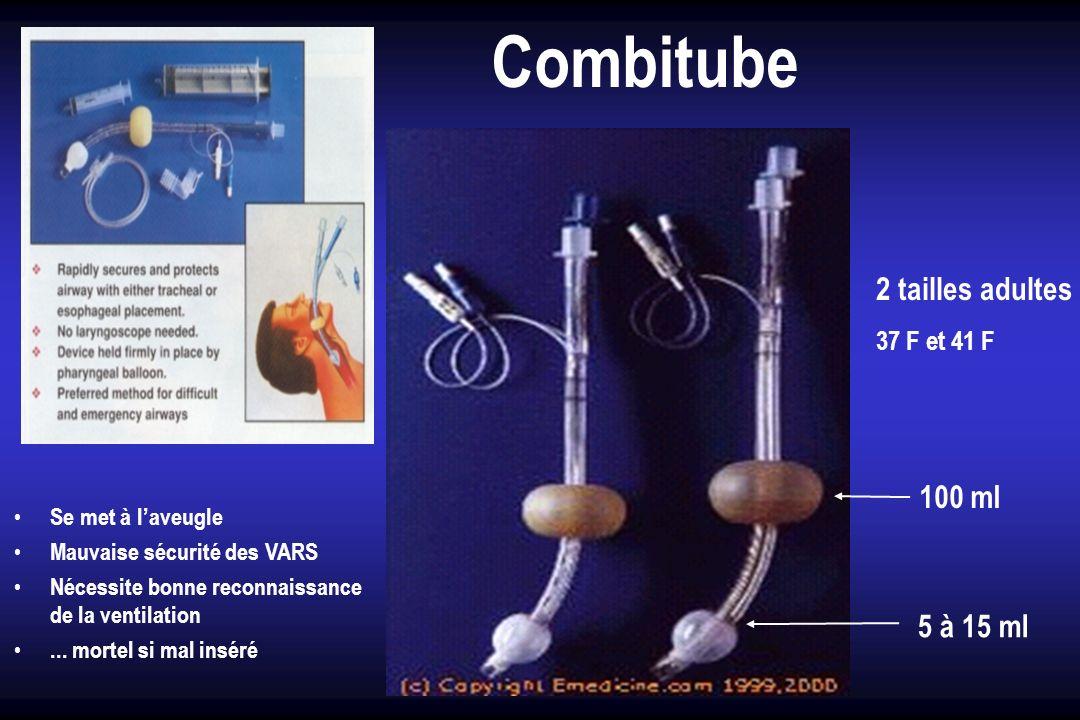 Combitube Se met à laveugle Mauvaise sécurité des VARS Nécessite bonne reconnaissance de la ventilation... mortel si mal inséré 2 tailles adultes 37 F