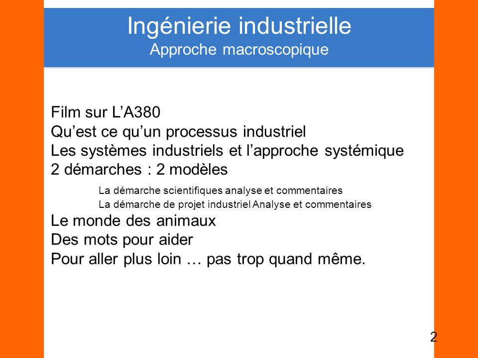 Film sur LA380 Quest ce quun processus industriel Les systèmes industriels et lapproche systémique 2 démarches : 2 modèles La démarche scientifiques a