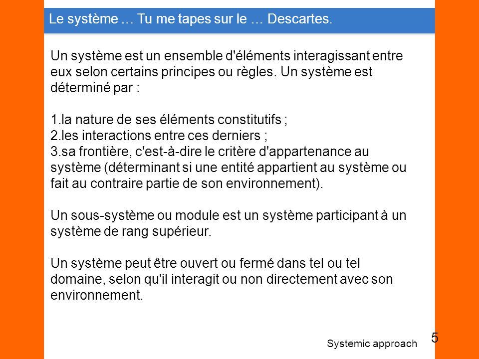Un système est un ensemble d'éléments interagissant entre eux selon certains principes ou règles. Un système est déterminé par : 1.la nature de ses él