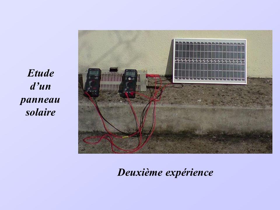 Suite à lessai précédent et dans le but daugmenter la puissance fournie, on a réalisé un panneau comportant 9 ventilateurs mis en série. Pour les mesu