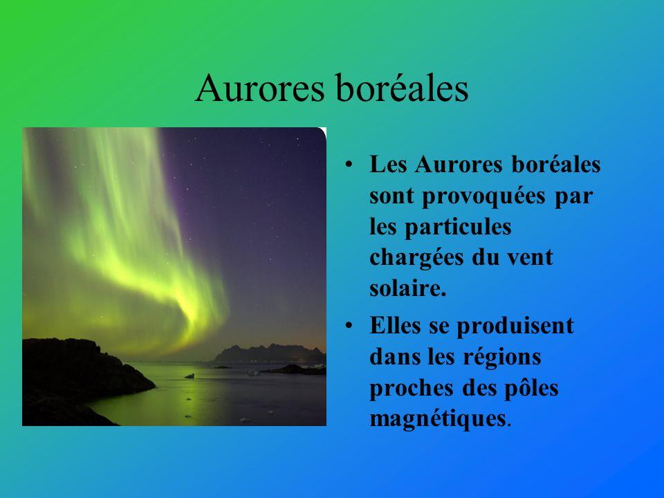 Aurores boréales Les Aurores boréales sont provoquées par les particules chargées du vent solaire.