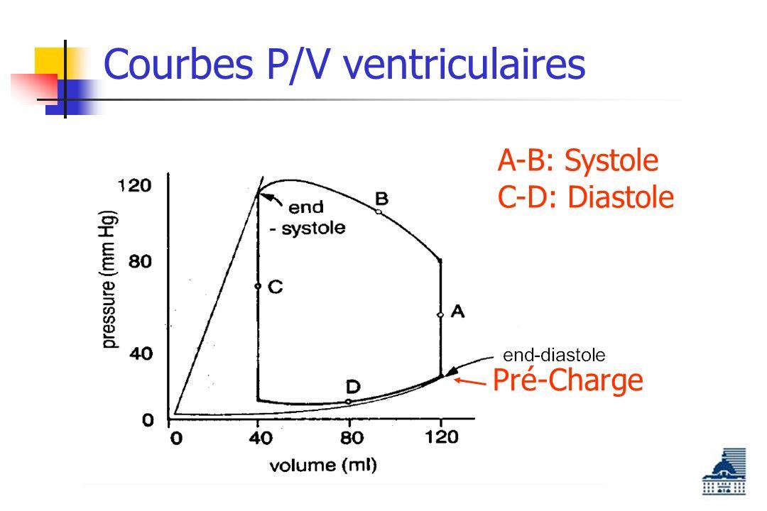 Courbes P/V ventriculaires A-B: Systole C-D: Diastole Pré-Charge