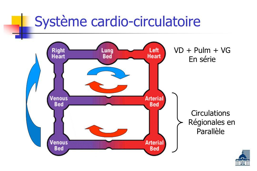 Système cardio-circulatoire Circulations Régionales en Parallèle VD + Pulm + VG En série