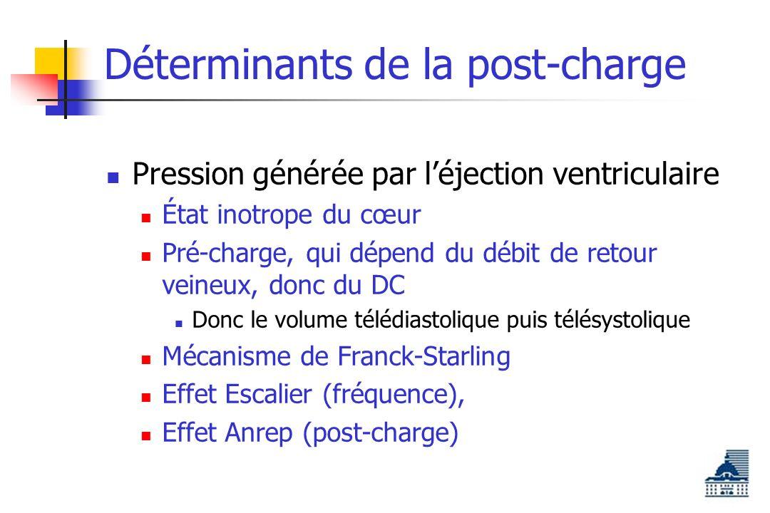 Déterminants de la post-charge Pression générée par léjection ventriculaire État inotrope du cœur Pré-charge, qui dépend du débit de retour veineux, donc du DC Donc le volume télédiastolique puis télésystolique Mécanisme de Franck-Starling Effet Escalier (fréquence), Effet Anrep (post-charge)