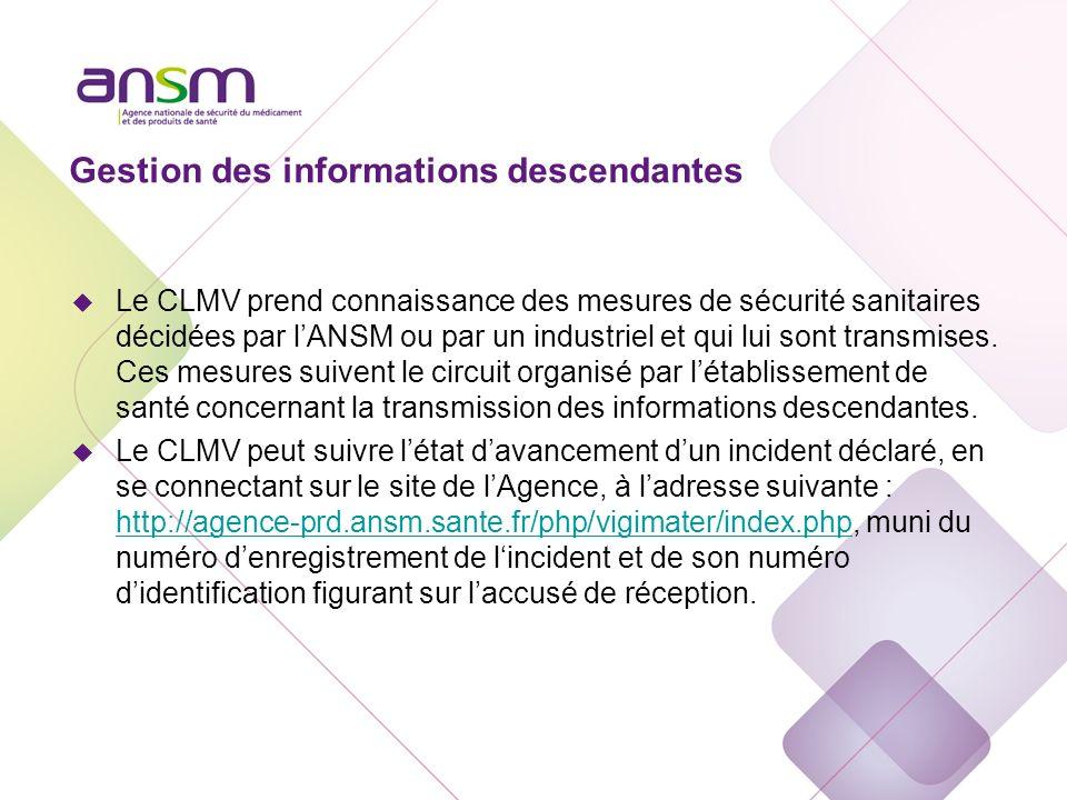 Gestion des informations descendantes u Le CLMV prend connaissance des mesures de sécurité sanitaires décidées par lANSM ou par un industriel et qui l