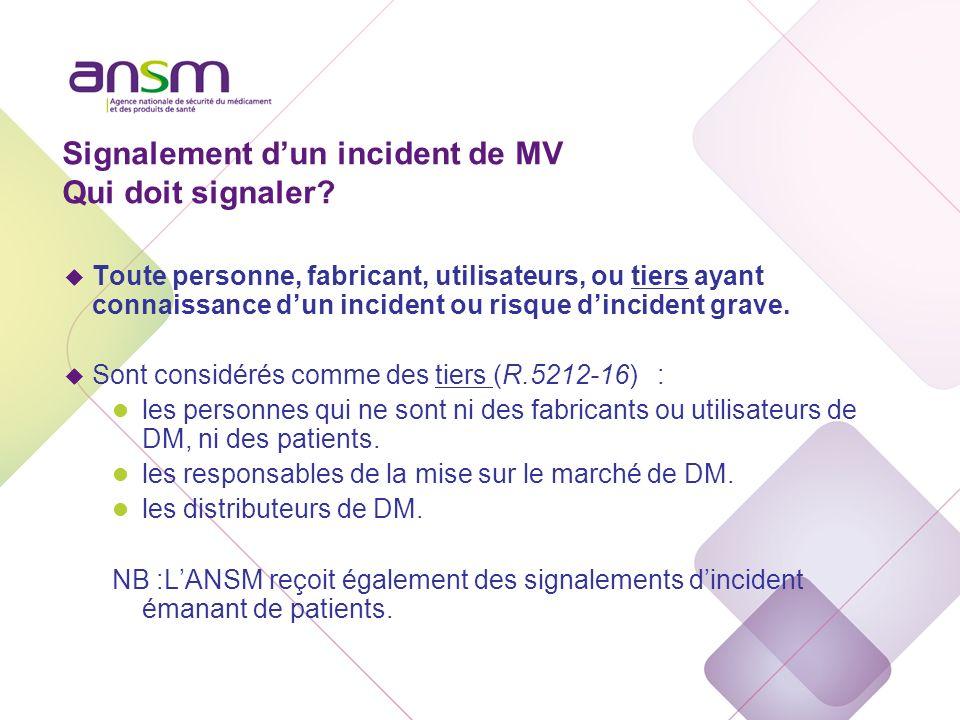 Signalement dun incident de MV Qui doit signaler? u Toute personne, fabricant, utilisateurs, ou tiers ayant connaissance dun incident ou risque dincid