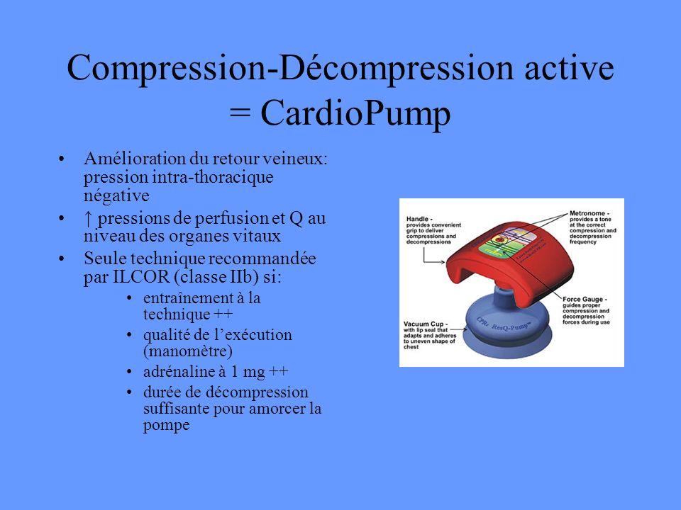 Compression-Décompression active = CardioPump Amélioration du retour veineux: pression intra-thoracique négative pressions de perfusion et Q au niveau