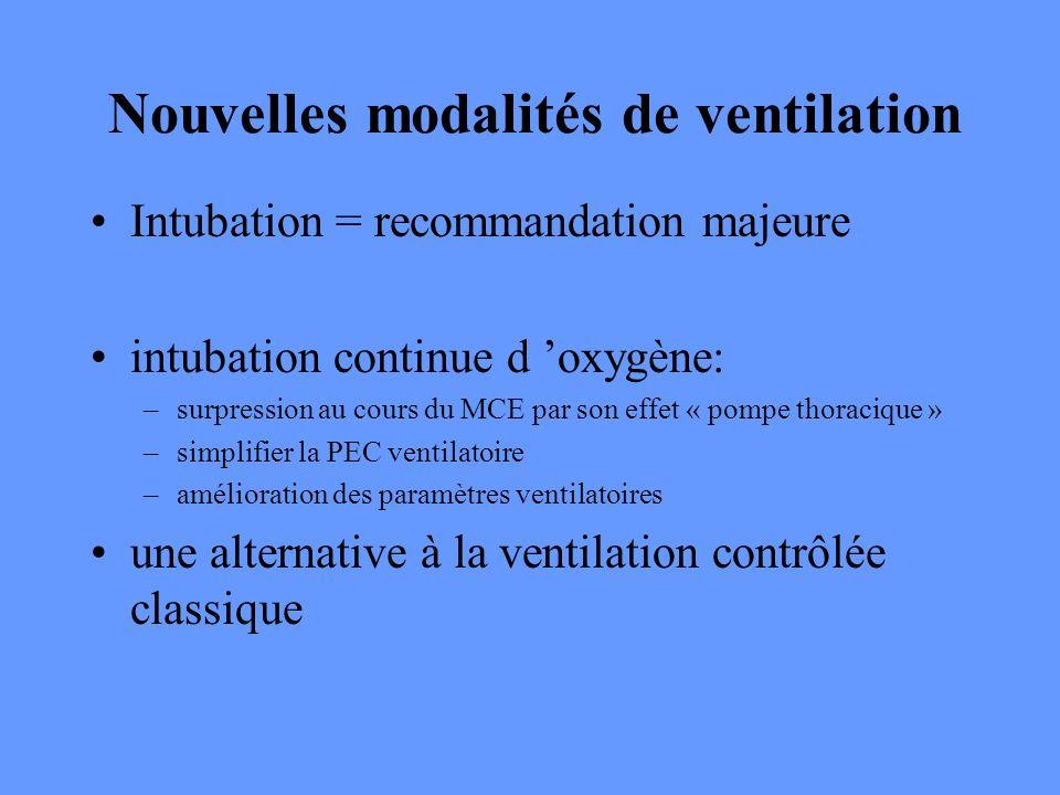 Nouvelles modalités de ventilation Intubation = recommandation majeure intubation continue d oxygène: –surpression au cours du MCE par son effet « pom