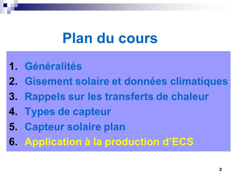 2 Plan du cours 1.Généralités 2.Gisement solaire et données climatiques 3.Rappels sur les transferts de chaleur 4.Types de capteur 5.Capteur solaire p