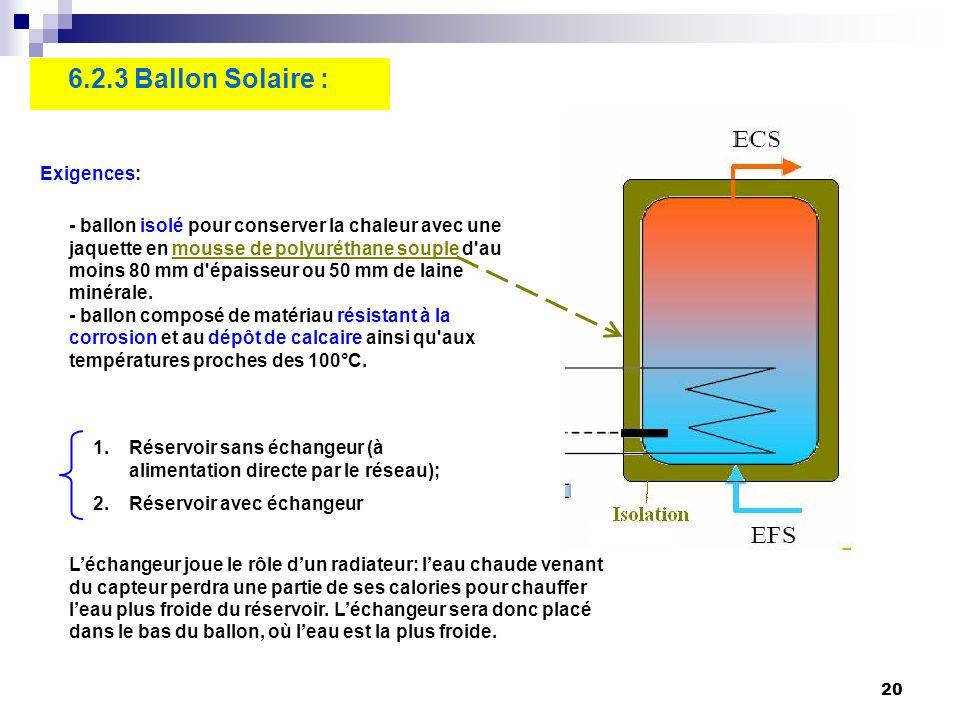 20 6.2.3 Ballon Solaire : - ballon isolé pour conserver la chaleur avec une jaquette en mousse de polyuréthane souple d'au moins 80 mm d'épaisseur ou
