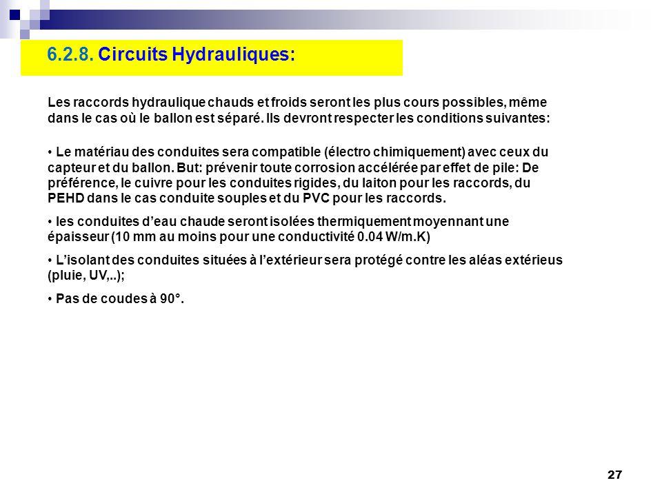 27 6.2.8. Circuits Hydrauliques: Les raccords hydraulique chauds et froids seront les plus cours possibles, même dans le cas où le ballon est séparé.