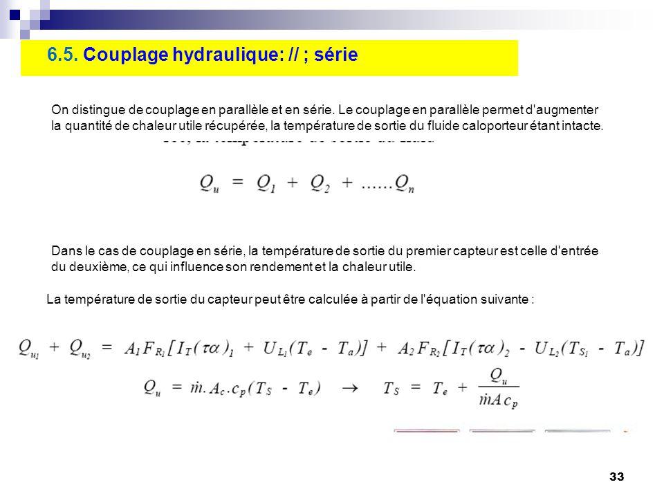 33 6.5. Couplage hydraulique: // ; série On distingue de couplage en parallèle et en série. Le couplage en parallèle permet d'augmenter la quantité de