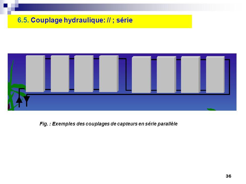 36 6.5. Couplage hydraulique: // ; série Fig. : Exemples des couplages de capteurs en série parallèle