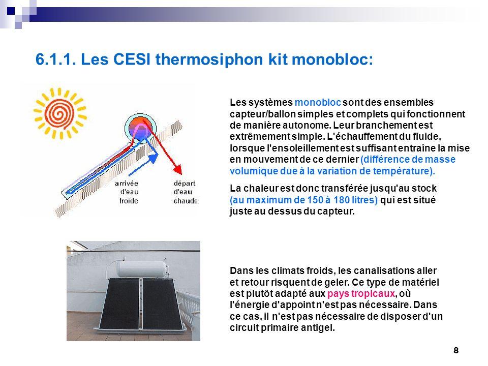 8 6.1.1. Les CESI thermosiphon kit monobloc: Les systèmes monobloc sont des ensembles capteur/ballon simples et complets qui fonctionnent de manière a