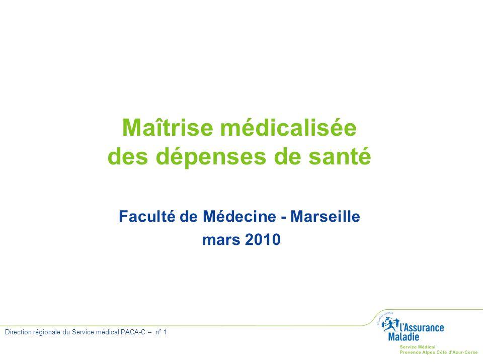 Direction régionale du Service médical PACA-C – n° 1 Maîtrise médicalisée des dépenses de santé Faculté de Médecine - Marseille mars 2010