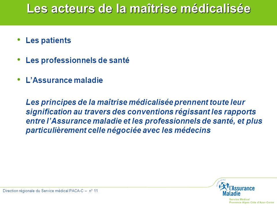 Direction régionale du Service médical PACA-C – n° 11 Les acteurs de la maîtrise médicalisée Les patients Les professionnels de santé LAssurance malad