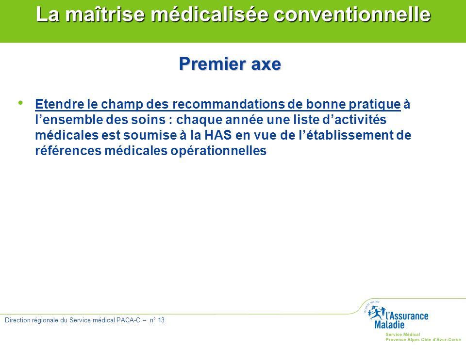 Direction régionale du Service médical PACA-C – n° 13 La maîtrise médicalisée conventionnelle Premier axe Etendre le champ des recommandations de bonn